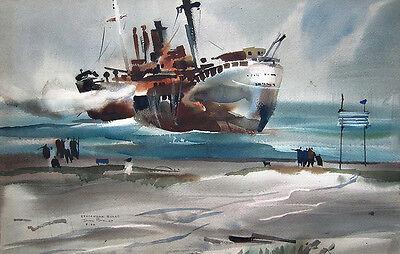 "REX BRANDT Signed 1964 Original Watercolor Painting - ""Stavanger Burns"""