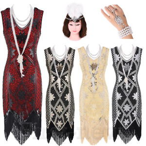 5c281b1f Image is loading 1920s-Flapper-Dress-Cocktail-Art-Deco-Sequin-Fringe-