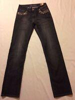 Suko Studded Straight Leg Dark Gray Jeans Women's Size 4 (waist 30 Inseam 33