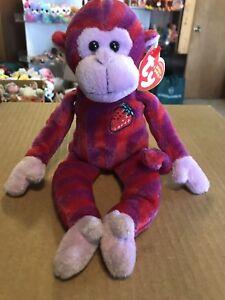 """Ty TWISTY -Purple Stripe Twizzlers Monkey 6"""" Beanie Baby *Retired Exclusive* HTF"""