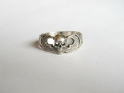 WW2 US Airborne Paratrooper with Skull Sterling Silver Ring