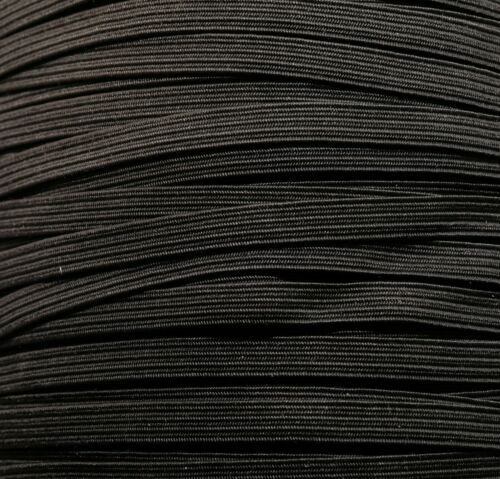 BLACK COLOUR STRETCHY FLAT ELASTIC 6 MM WIDE ONE METRE OF SOFT MADE IN UK