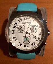 BEAUTIFUL LARGE ROC ICE WATCH  MOTHER OF PEARL LIGHT BLUE  LEATHER BAND ORIG BOX