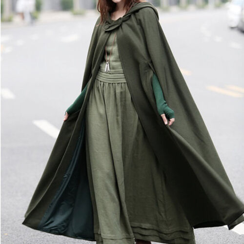 Women Vintage Stylish Solid Black Green Cloak Cape Jacket Long Hooded Parka Coat