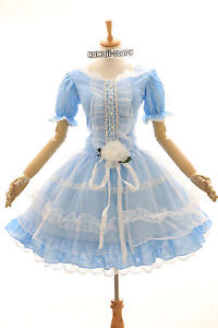 m-3294-S-M-L-XL-XXL-Stretch-Azul-Vestido-Gotico-de-Lolita-Cosplay-Traje