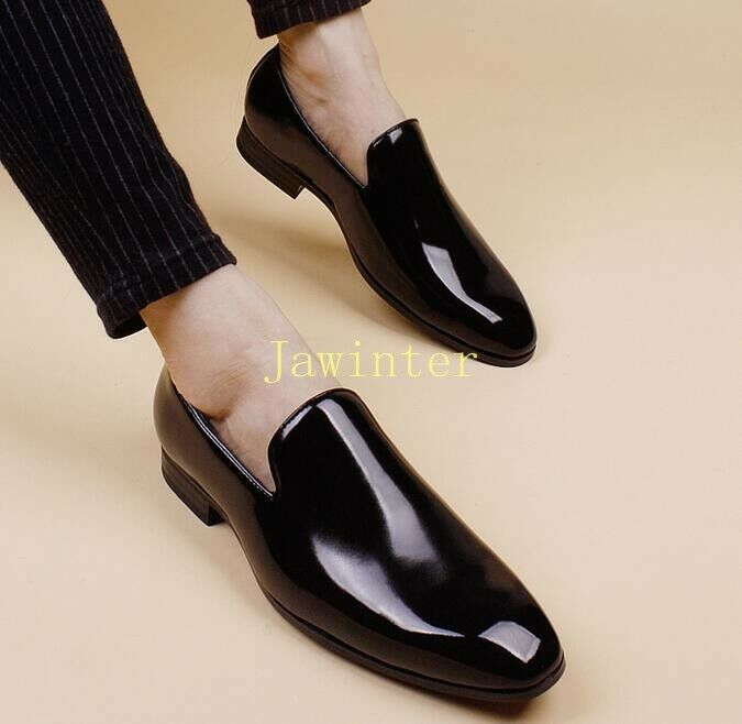 Men's Patent Leather Pointed Toe Hidden Wedge Loafers Oxford Leisure shoes