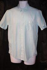 Clavin Klein Men's Small Blue White Plaid Button Front Cuban Short Sleeve Shirt