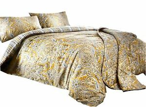 PAISLEY STRIPED OCHRE GOLD WHITE COTTON BLEND SUPER KING DUVET COVER