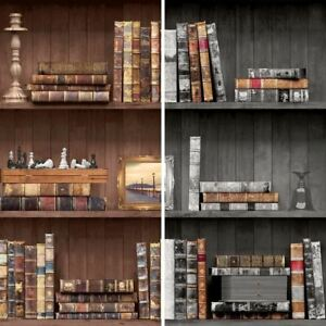 Image Is Loading Holden Vintage Book Case Pattern Wallpaper Faux Effect