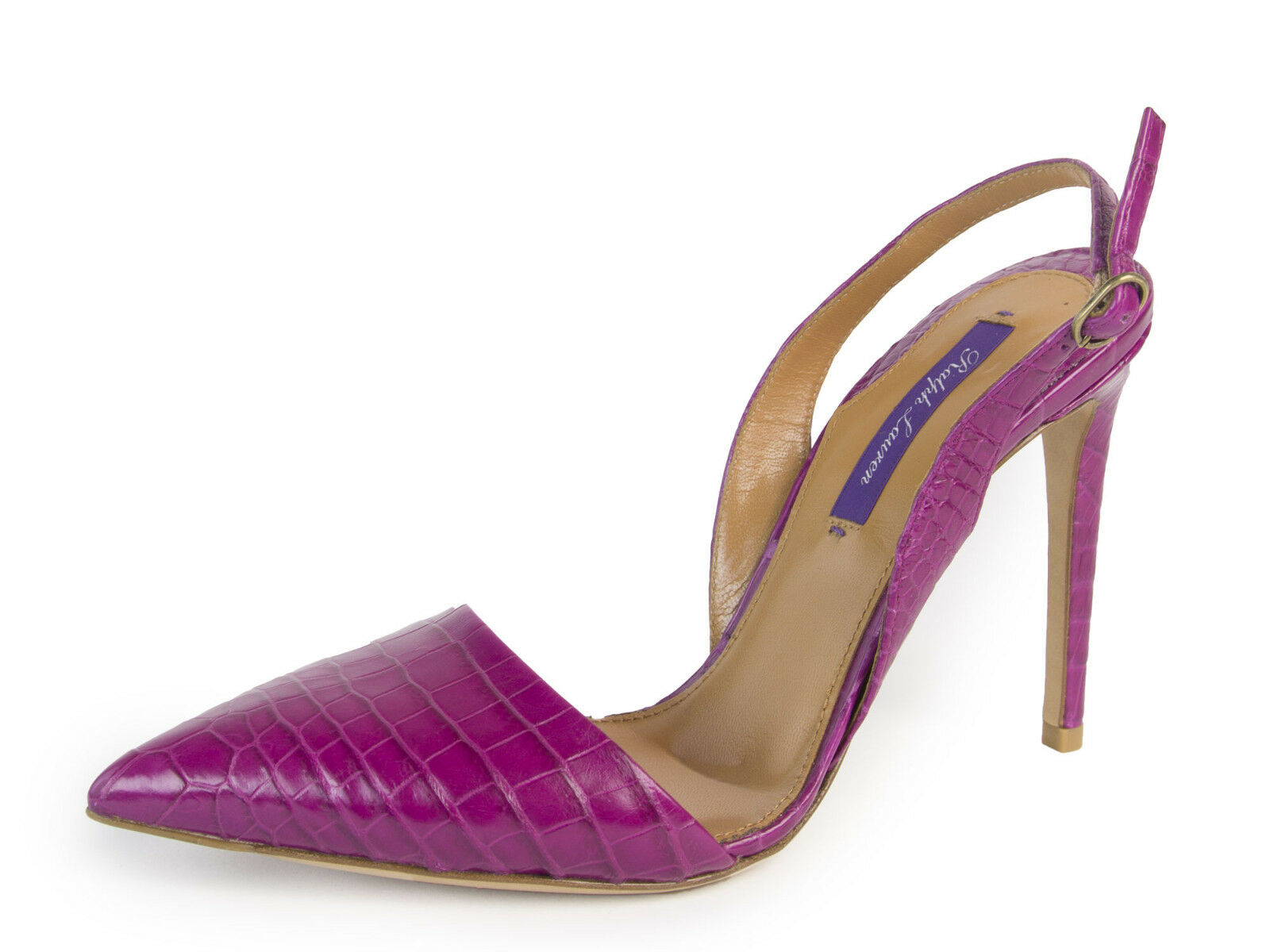 RALPH LAUREN Purple Label Cece Magenta Alligator Slingback Pumps Sz 7  4,000 NEW