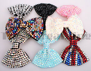 Girl-Ladies-Fashion-Shining-Brand-New-Diamante-Crystal-Bow-Hair-Clip-Large-Size