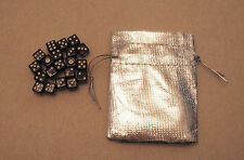 20 mini Black Dice Set with Silver Bag (8mm d6: bulk wholesale lot)