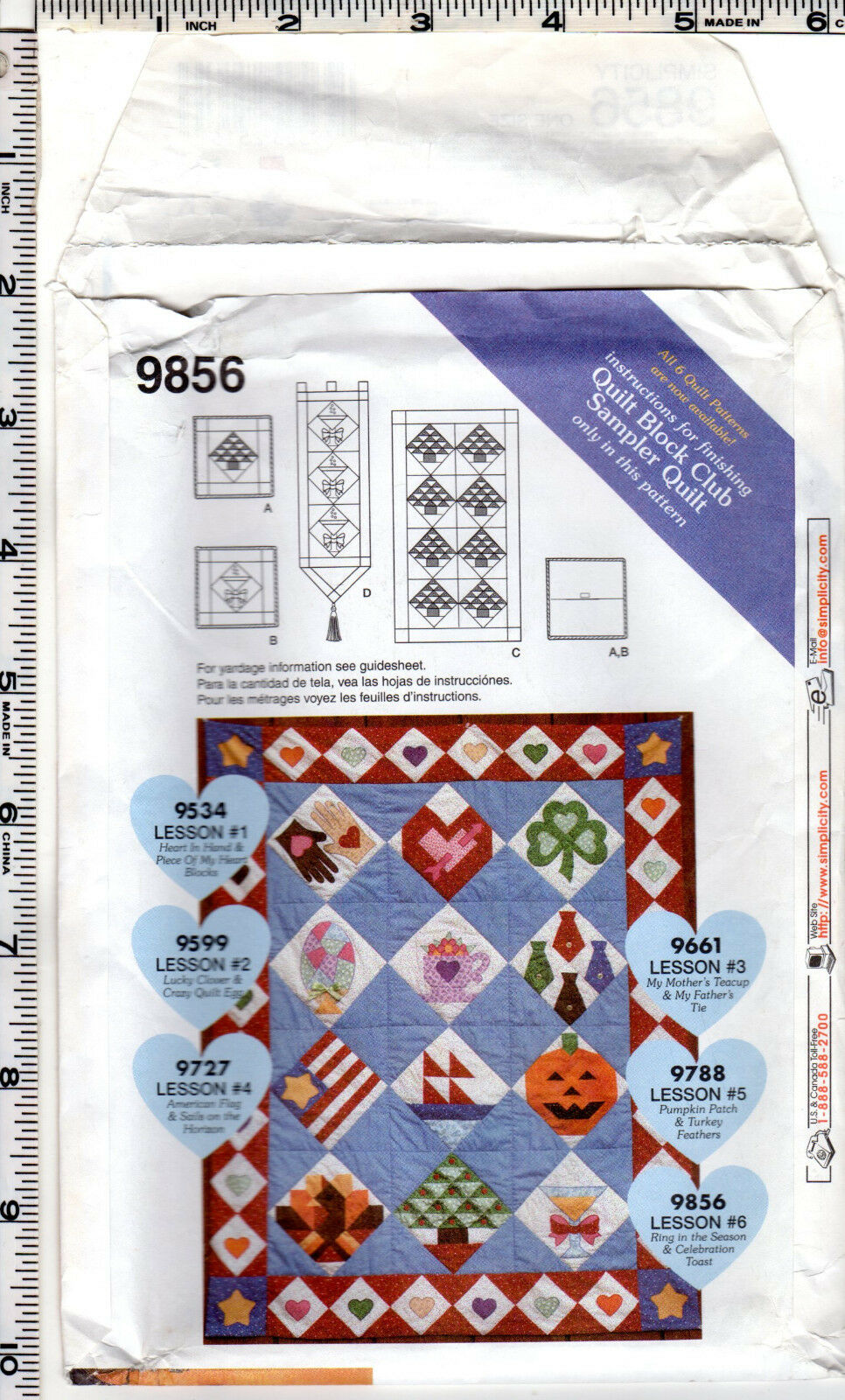 Simplicity 9856 Ring in the Season Quilt Pattern