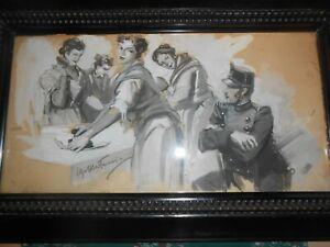 1930-TECNICA-MISTA-ILLUSTRATORE-UGO-MATANIA-LE-STIRATRICI-NAPOLI-BELLISSIMO