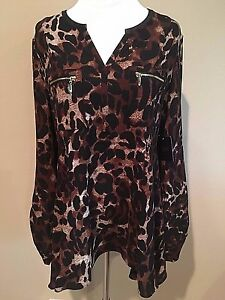 NWT-Womens-Leopard-Print-Brown-Black-Long-Sleeve-Rafaella-Tunic-Dress-Top-Medium