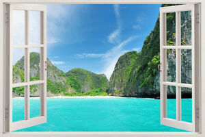Window Frame Wall Art 3d window frame peel and stick mural wall art beach scene wall