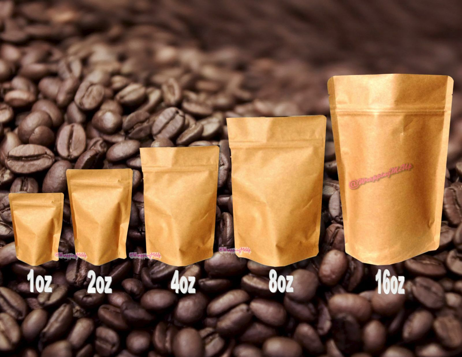 100 -1oz to 16oz Natural Kraft Pouch Pouch Pouch Coffee Tea Dry Food Storage Bags Foil Bags aa00c4