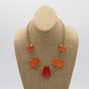 Vintage-Estate-Gold-Tone-Multi-Strand-Chain-Orange-Acrylic-Bib-Necklace-20-Inch