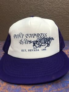 85f68217672 Trucker Hat Vintage Pony Express Days Nevada Men s Purple Mesh ...
