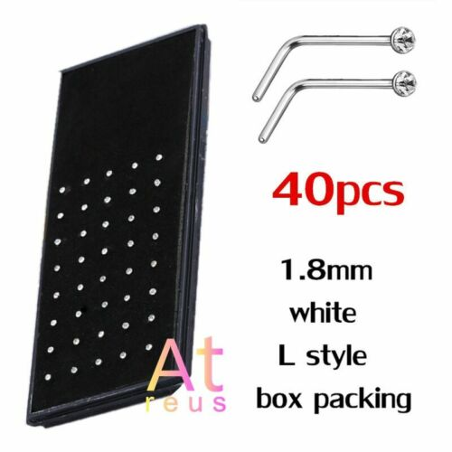 Set L Form 1.8mm Anhänger Edelstahl Kristall Nase Piercing 60//40//24//10pcs