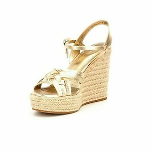 dc43094af410 Coach Women s Size 10 Dottie Metallic Gold Wedge Leather Sandals NEW ...