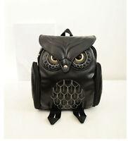 Hübscher Eulen Rucksack Eule Tasche Umhängetasche Handtasche schwarz Retro