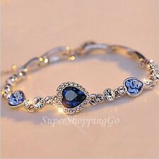 Stylish Ocean Blue Sliver Plated Crystal Rhinestone Heart Charm Bracelet Bangle