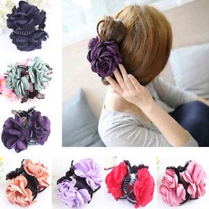 EG-Fille-Dame-Fleur-Rose-Pince-a-cheveux-plastique-clip-accessoire-cadeau