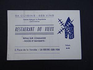 Carte De Visite RESTAURANT DU VIEUX La Roche