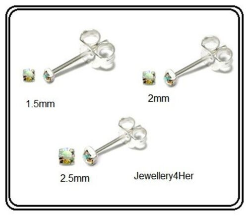 925 Sterling Silver 2.5mm Tiny Small AB Clear Crystal Stud Earrings Nose Gift BN