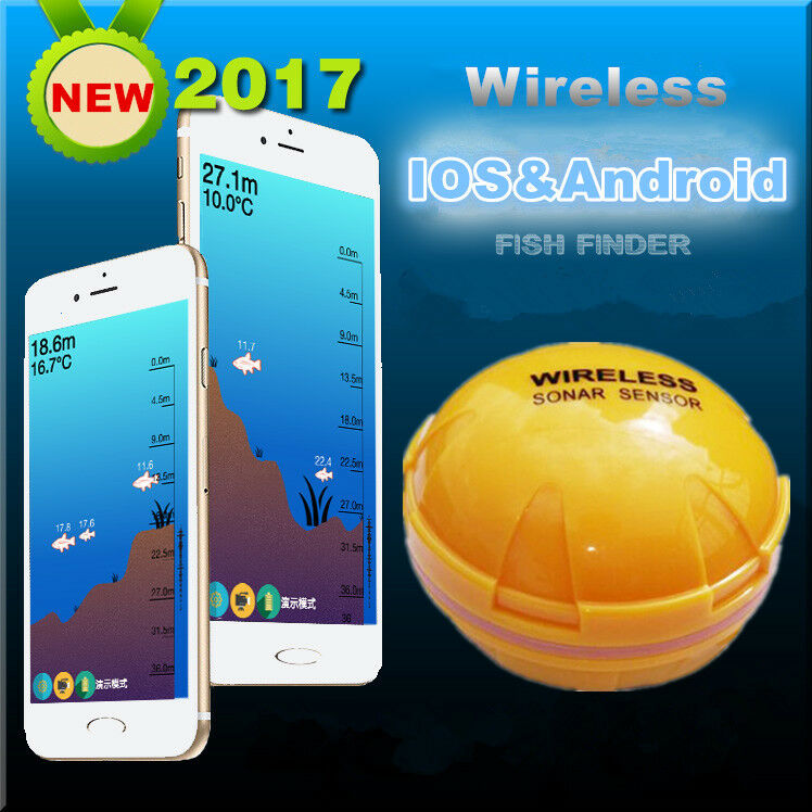 Portable Wireless Blautooth Fish Detection Sonar Fish Finder for iOS and Android