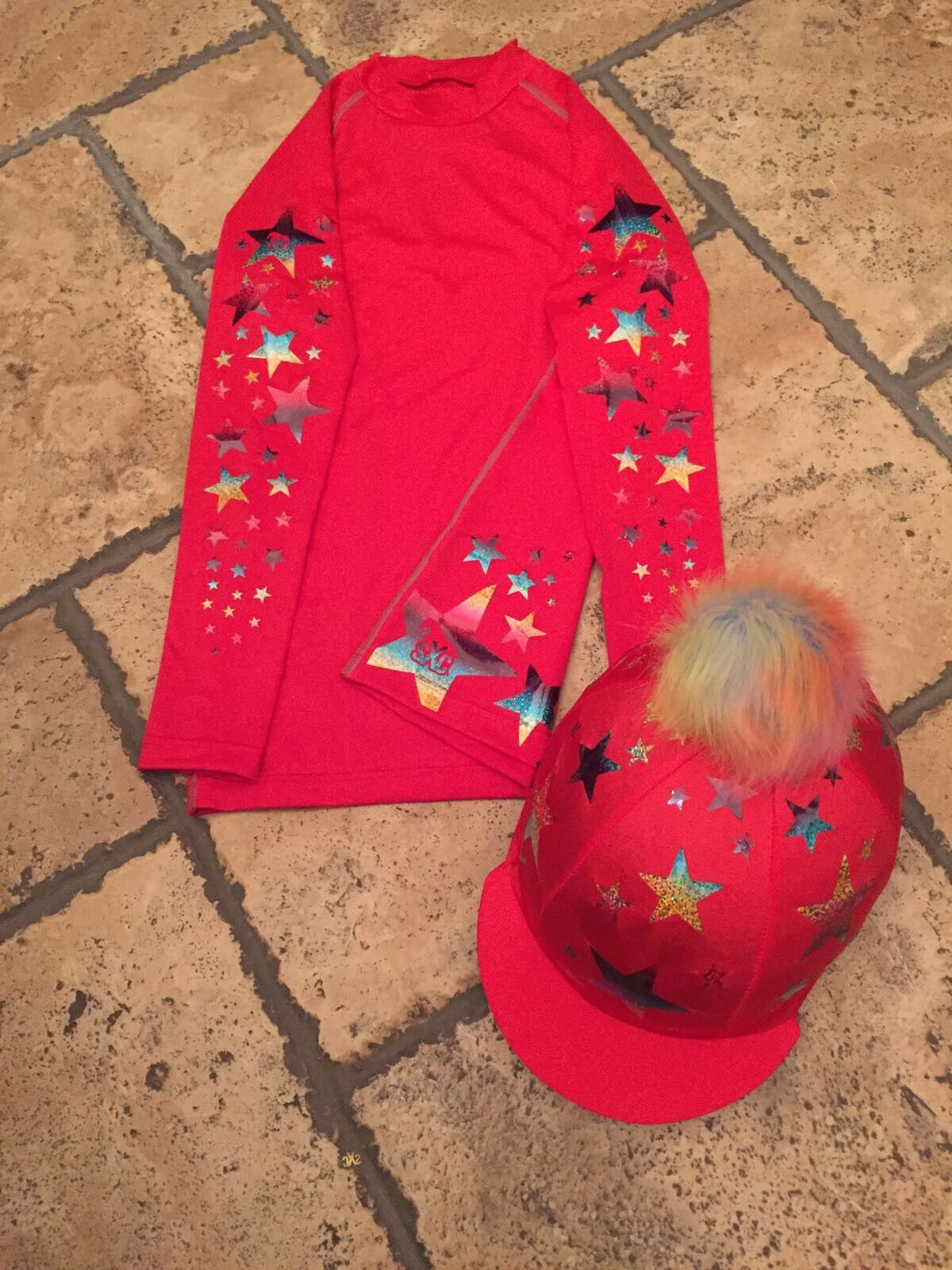 SXC Starburst Cross Country Colour XC Stars Eventing Rainbow Hat Silk Cover