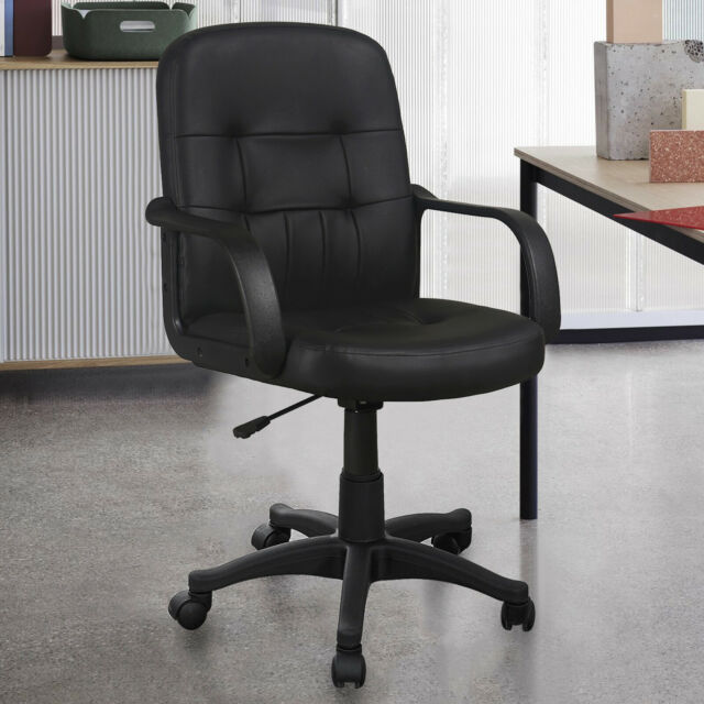 Gizza Modern Black Mid Back Support Office Chair Faux Leather High Adjustable For Sale Ebay