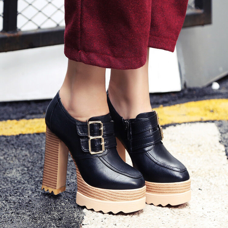 Women Round Toe Side Zip Chunky Heel Platform Ankle Boots Buckle Strap Shoes New
