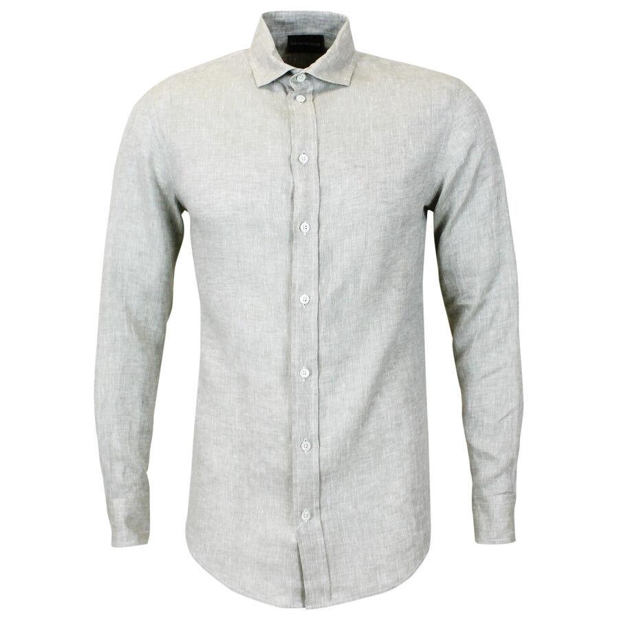 EMPORIO Armani camicia beige lino Medium  Nuovo con Etichette  RRP