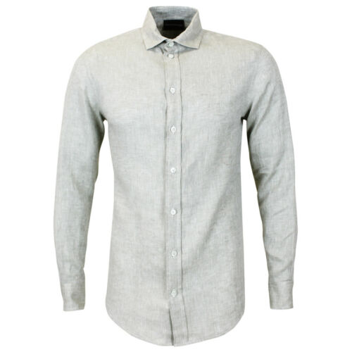 Shirt £185 Emporio With Beige new Armani Small Tags Rrp Linen qttzWB