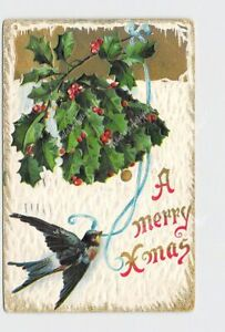 PPC-POSTCARD-CHRISTMAS-MERRY-XMAS-SWALLOW-BELL-MADE-OF-HOLLY-SNOW-EMBOSSED
