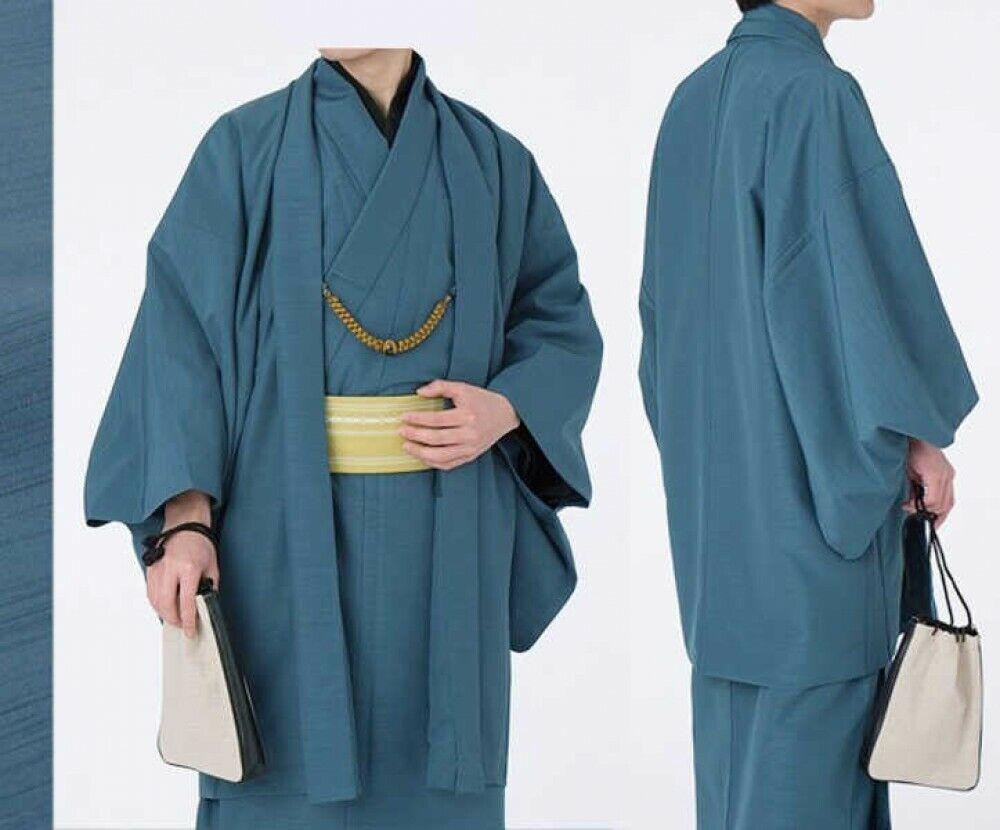 Japanese Traditional Men's Kimono Jacket HAORI Coat Pongee Blue Japan Tracking