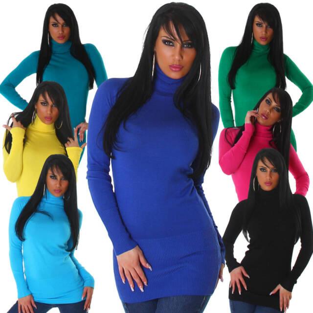 Pullover Rollkragen Sweater Sweatshirt Damen Pulli Einheits-Größe 32 34 36 38