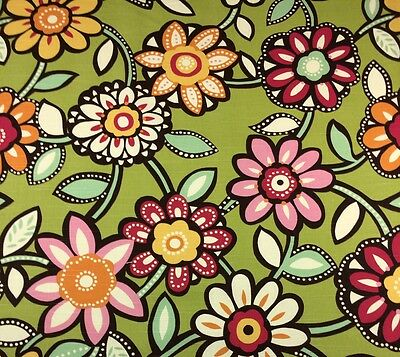 "RICHLOOM WIZARD EYE CANDY GREEN LARGE FLORAL FURNITURE FABRIC BY THE YARD 54""W"