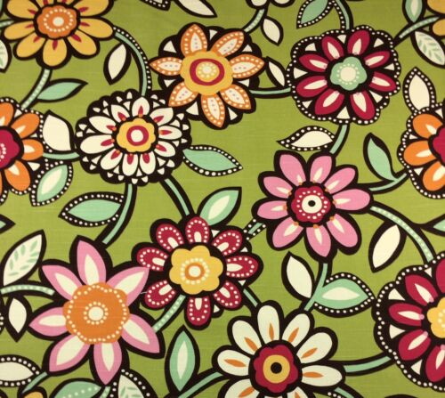 "RICHLOOM WIZARD EYE CANDY GREEN LARGE FLORAL FURNITURE FABRIC BY THE YARD 54/""W"