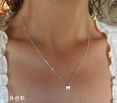 Sterling Silver Initial Necklace. Alphabet Letter Pendant. Monogram Tag