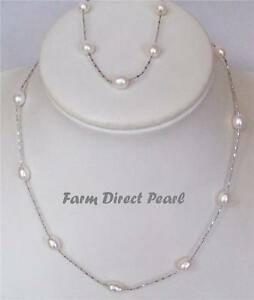 Genuine-Freshwater-White-Illusion-Pearl-Necklace-Bracelet-SET-18-034-Inch-Cultured
