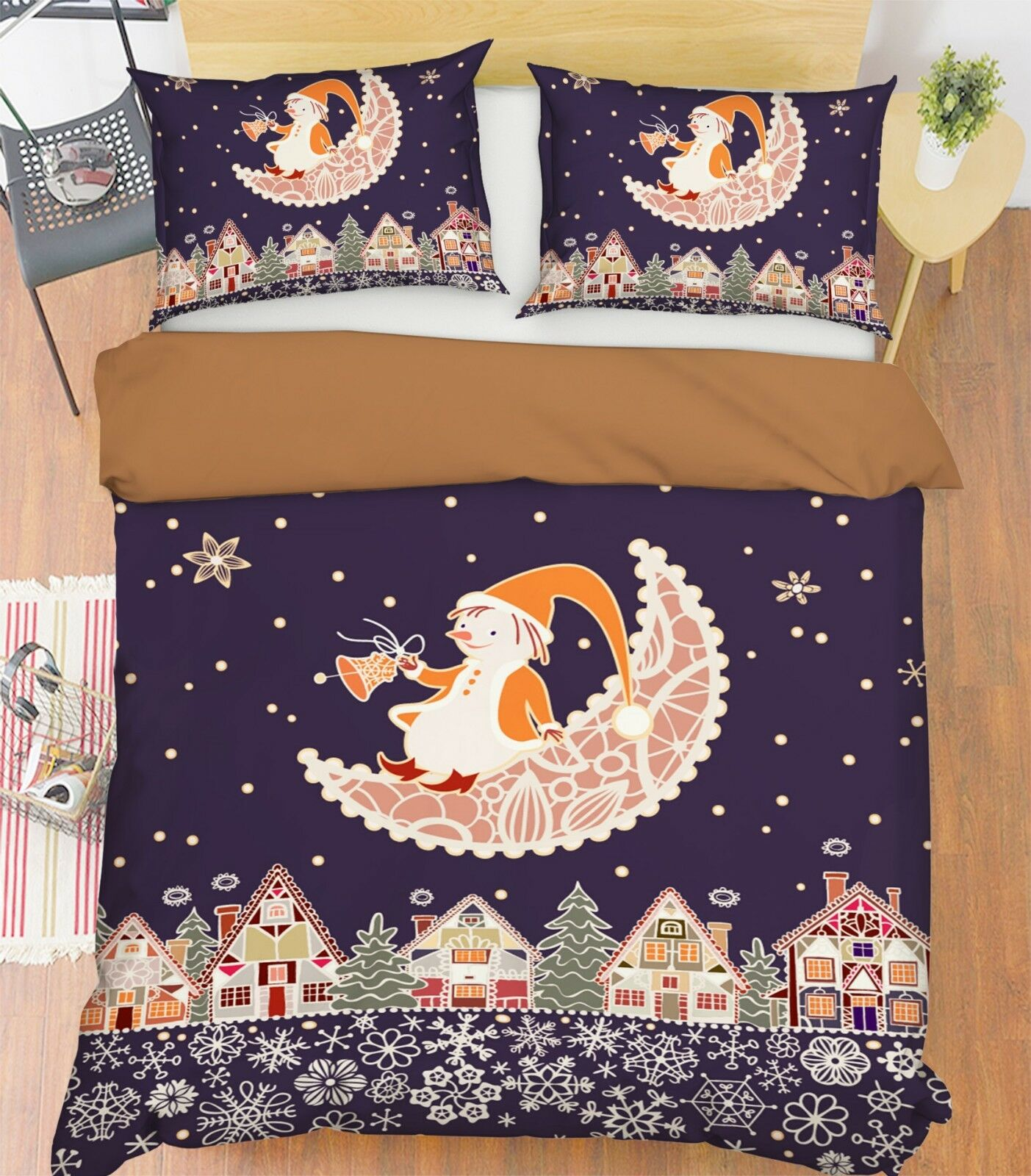 3D Christmas Xmas Moon 501 Bed Pillowcases Quilt Duvet Cover Set Single KingUK