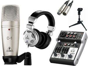 behringer 302usb mixer hpx2000 headphone c 1 condenser mic stand package ebay. Black Bedroom Furniture Sets. Home Design Ideas