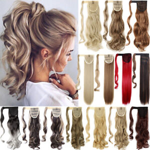 100-Real-Thick-Clip-In-One-Piece-Hair-Extensions-Ponytail-Wrap-On-Pony-Tail-AAA