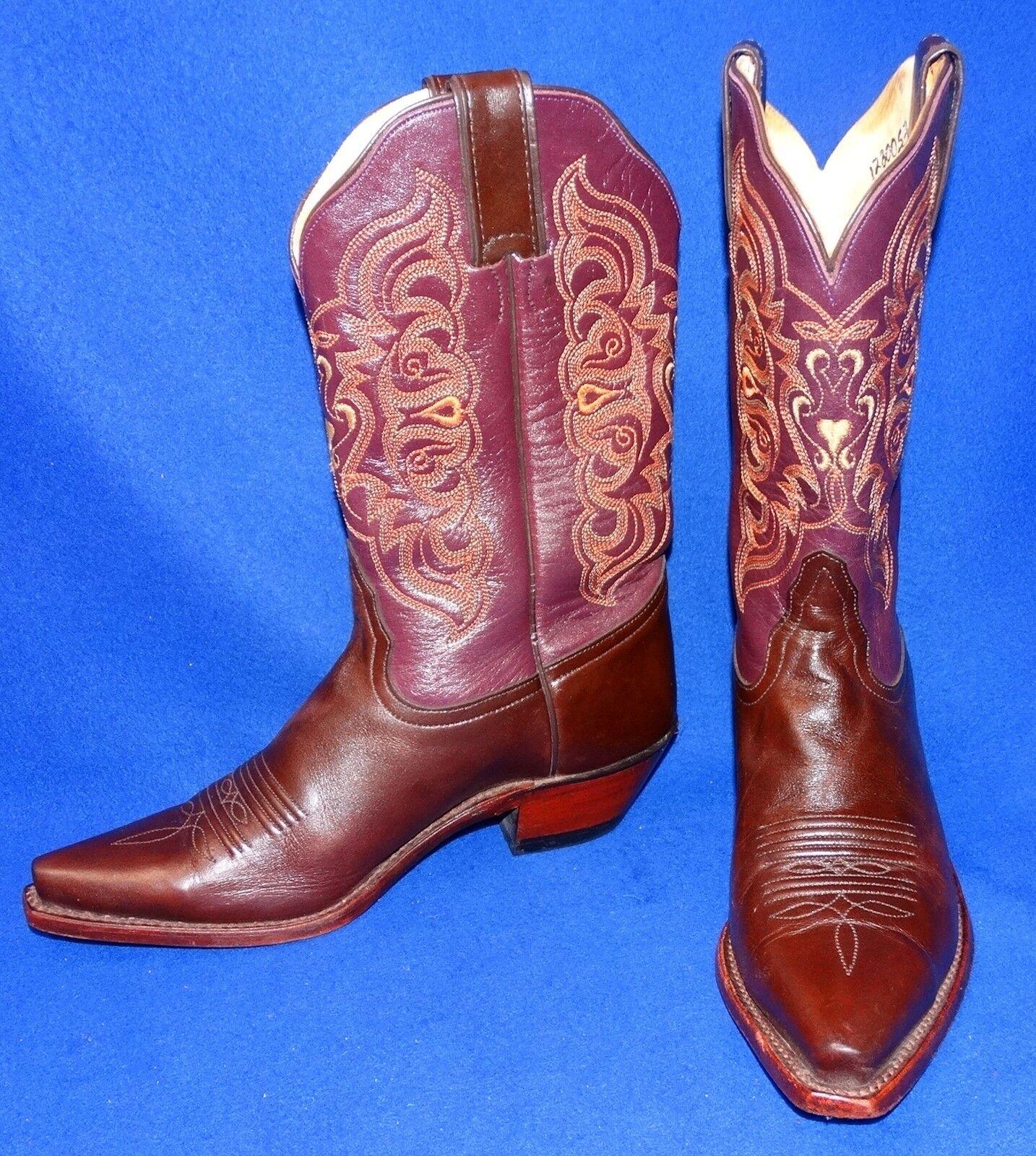 GREAT 7 B TONY LAMA COGNAC BURGUNDY CALF WOMEN COWBOY BOOTS