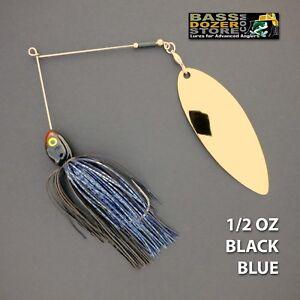Bassdozer-spinnerbaits-BIG-WILLOW-1-2-oz-BLACK-BLUE-SINGLE-spinner-bait