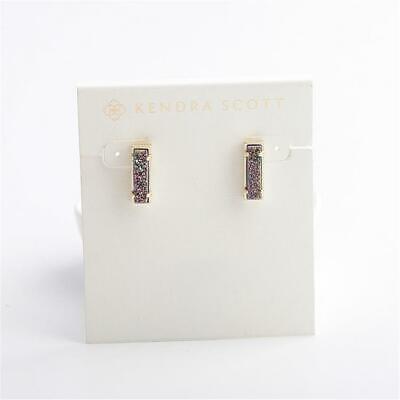 Matte Silver New Kendra Scott Lady Stud Earrings In Multicolor Drusy