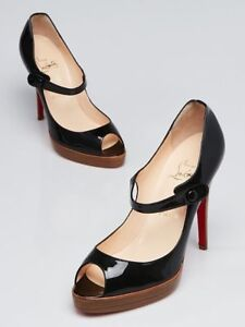 separation shoes 0ffa2 62ce8 Details about $825 NEW Christian Louboutin IOWA ZEPPA Patent Black Mary  Jane Pumps Shoes 37.5